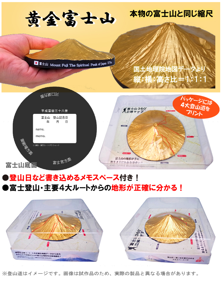 平成富嶽三十六景シリーズ 富士山360°立体マップ 黄金富士